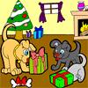 Perrito de Navidad para colorear