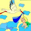 Cigüeña y bebé