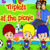 Trillizos en el picnic