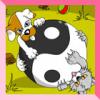 Yin Yang del perrito y del gatito para colorear juego
